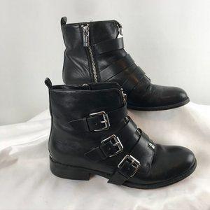 Michael Kors Black Leather Buckle Booties